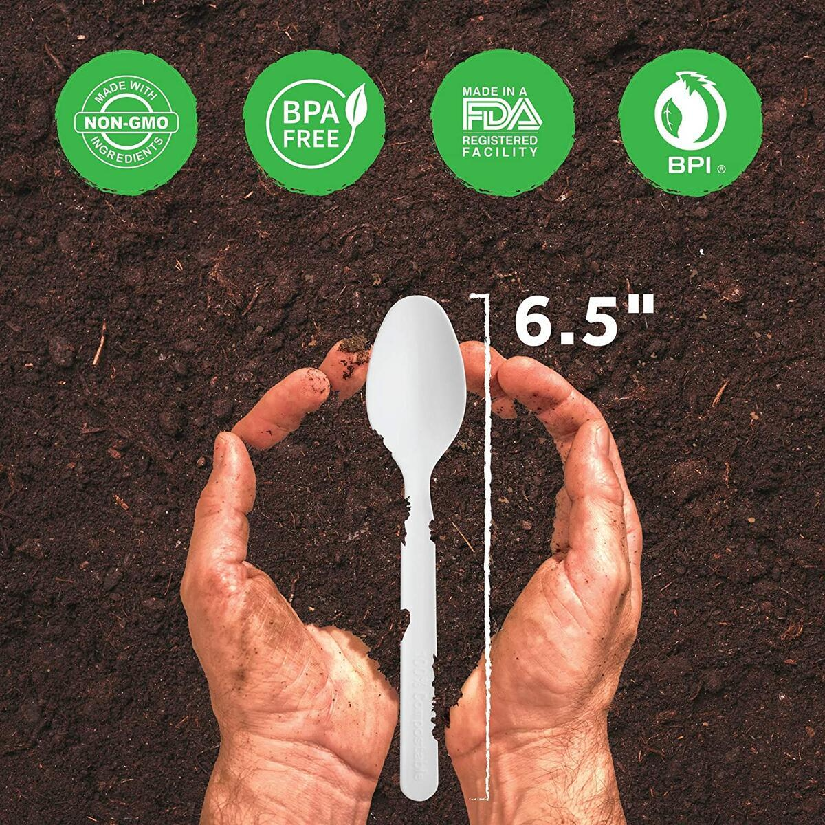 Compostable Spoons [140 Pack] - Biodegradable Cutlery Utensils - Large 7 Inch Plastic Spoon Alternative - Disposable Silverware Eco Friendly - Natural White