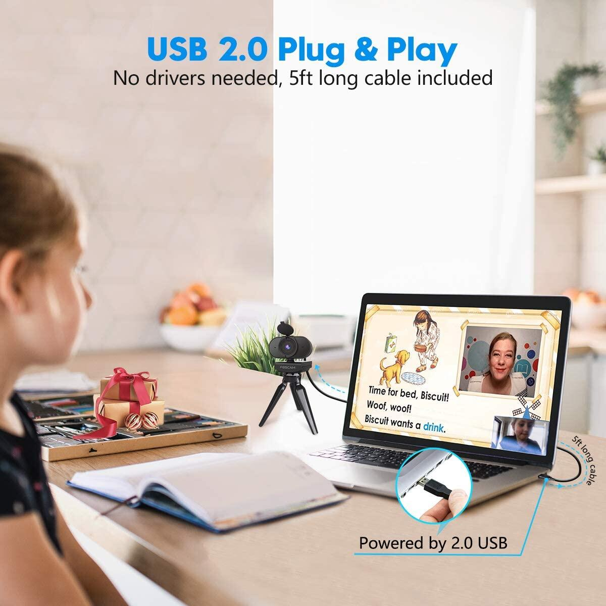 Webcam with Dual Microphone, Foscam 1080P HD Streaming USB Computer Camera with Privacy Cover for PC Video Call, Conferences, Online Teaching, Recording, Laptop Desktop W25