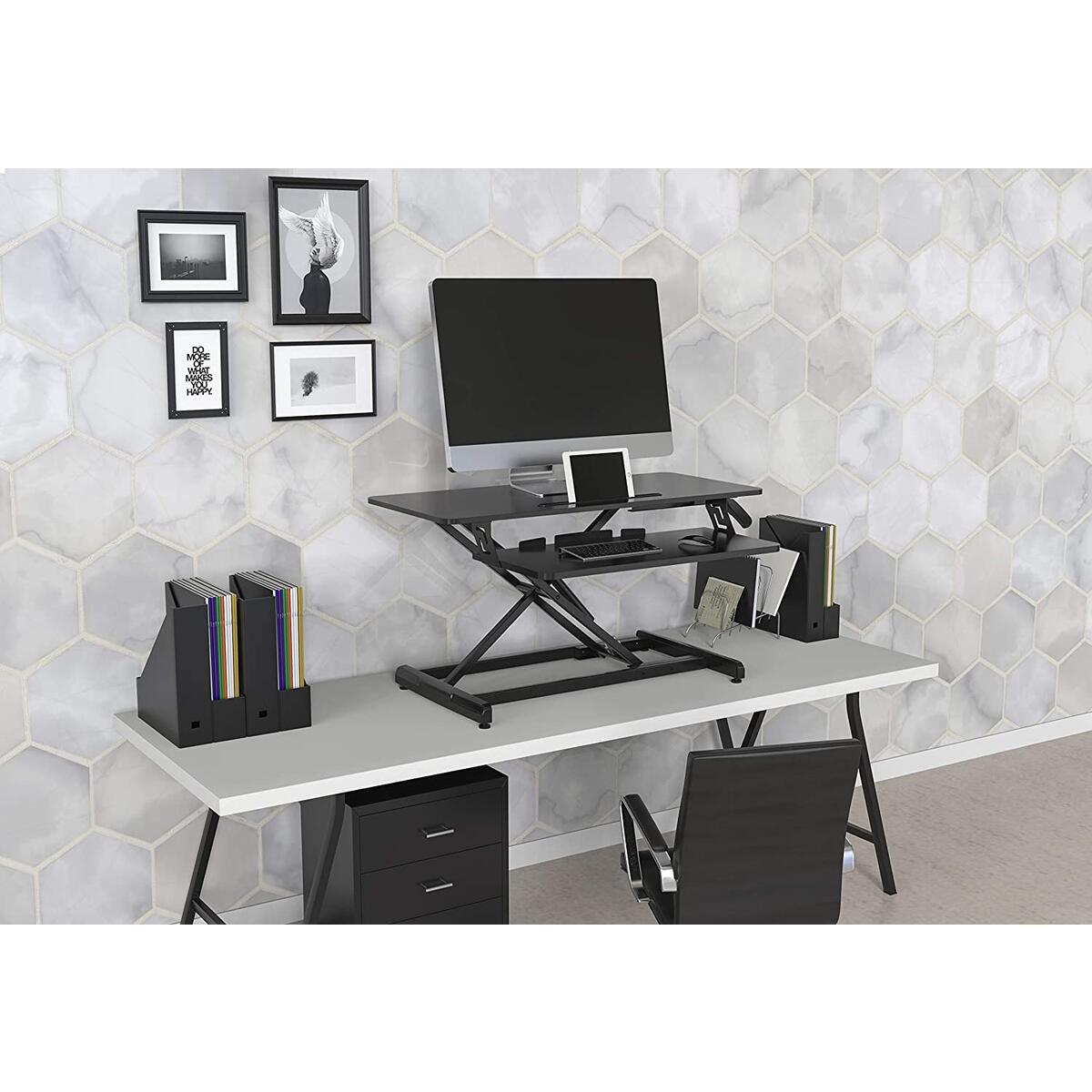 IBAMA Height Adjustable Standing Desk Converter,Tabletop Sit Stand Up Desk Fits Dual Monitors, Deep Keyboard Tray, Gas Spring Quick Lift Ergonomic Table Riser Black