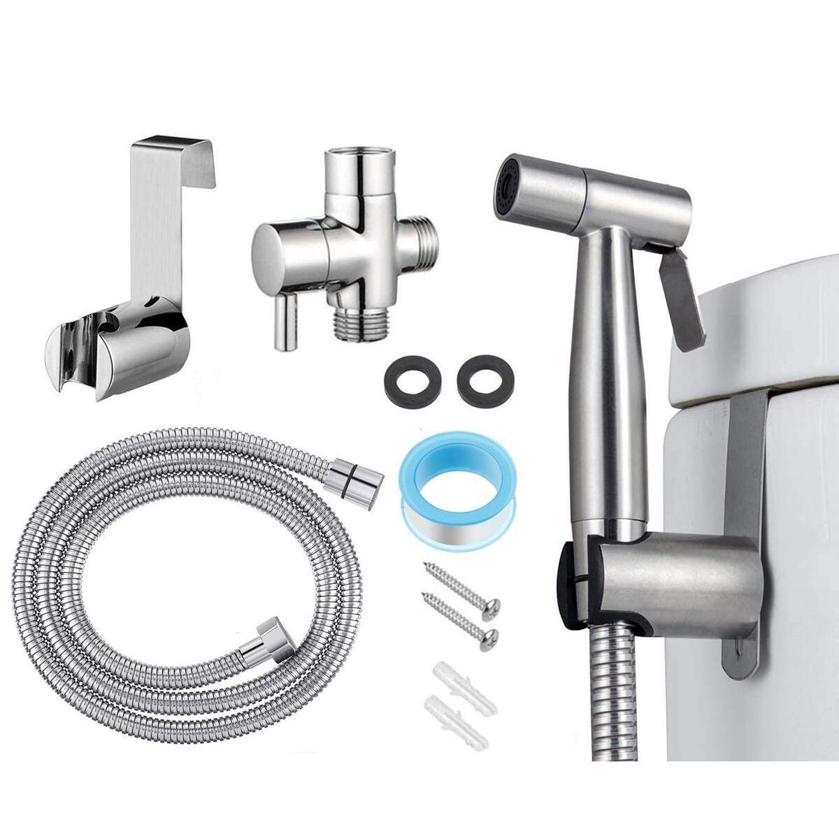 Handheld Bidet Sprayer for Toilet, Stainless Steel Bidet for Toilet, Complete Set Leak Proof Cloth Diaper Sprayer, Adjustable Water Pressure Bidet Sprayer