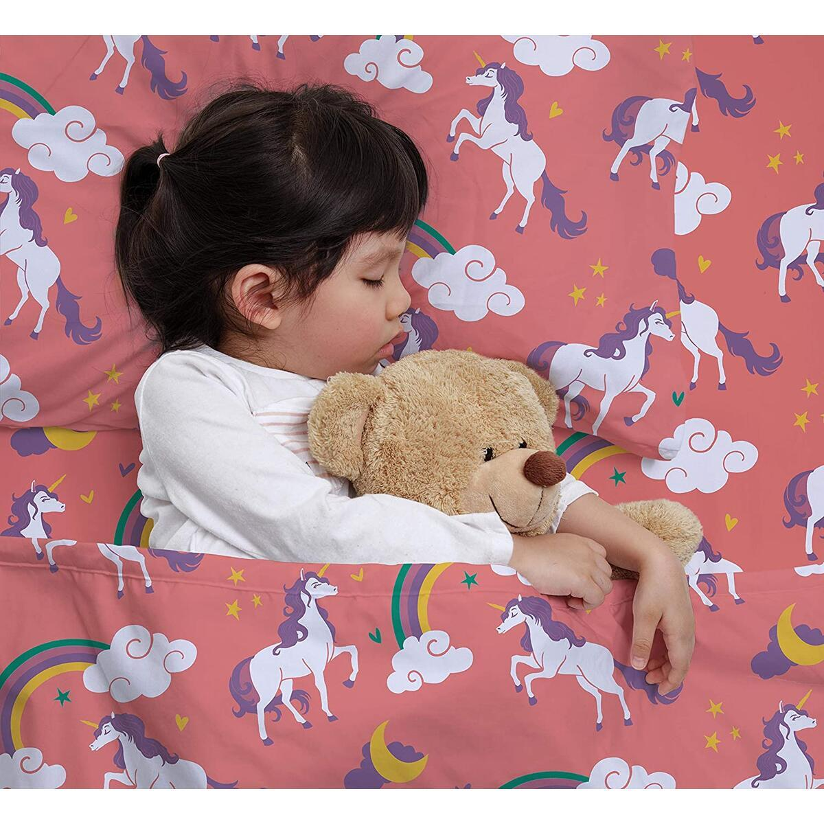 Castle and Clover Pink Unicorn Duvet Cover Set Twin/Twin XL Size Bedding for Kids with 2 Shams