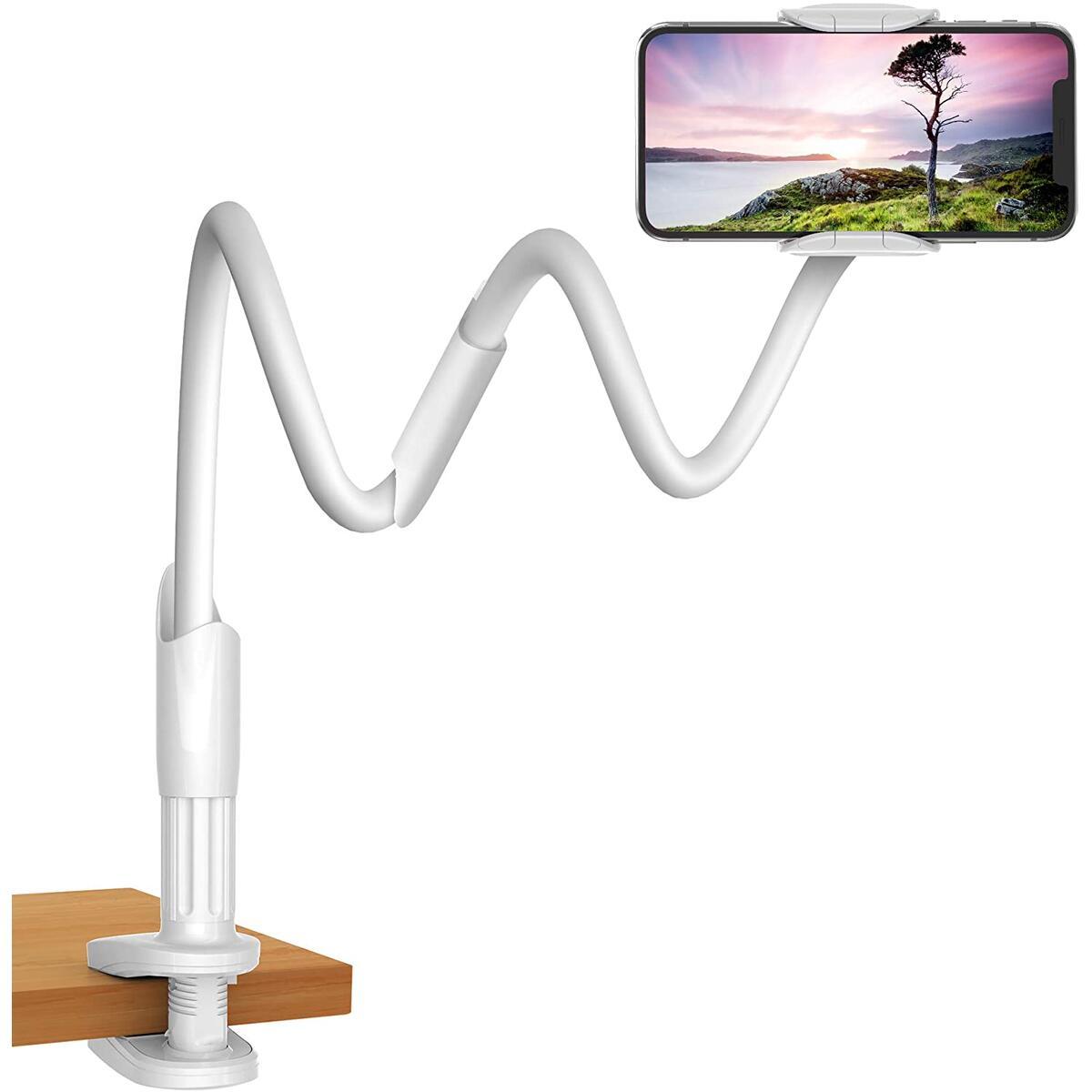 Gooseneck Phone & Tablet Holder for Desk, Night Stand, Headboard - White