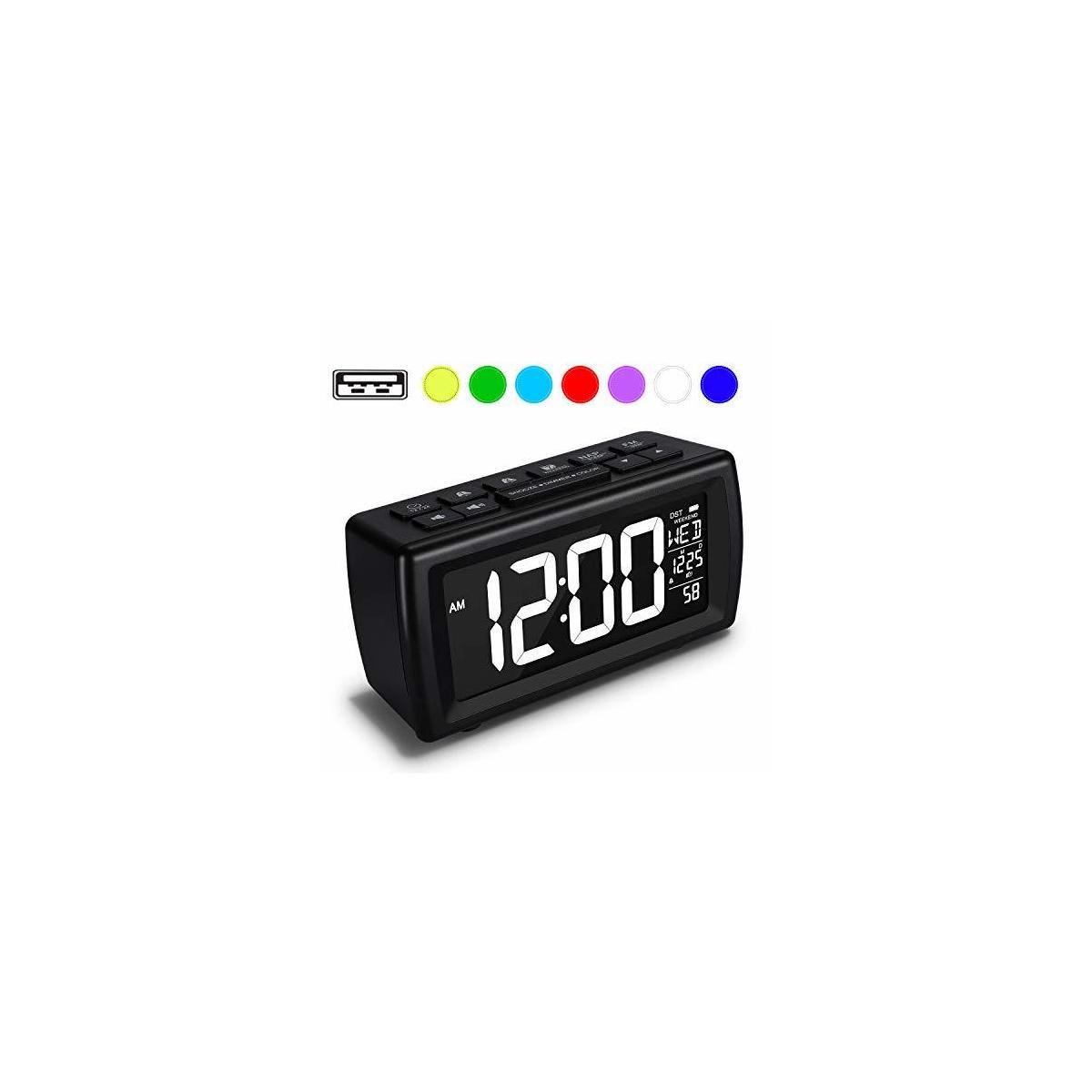 AZUTTA Digital Alarm Clock Radio with 7-Color Digit Display and Dimmer for Bedroom Travel Dorm Desk, Volume Adjustable, Snooze, Weekend, Calendar, DST, FM Sleep Timer, Nap Countdown, USB Phone Charger