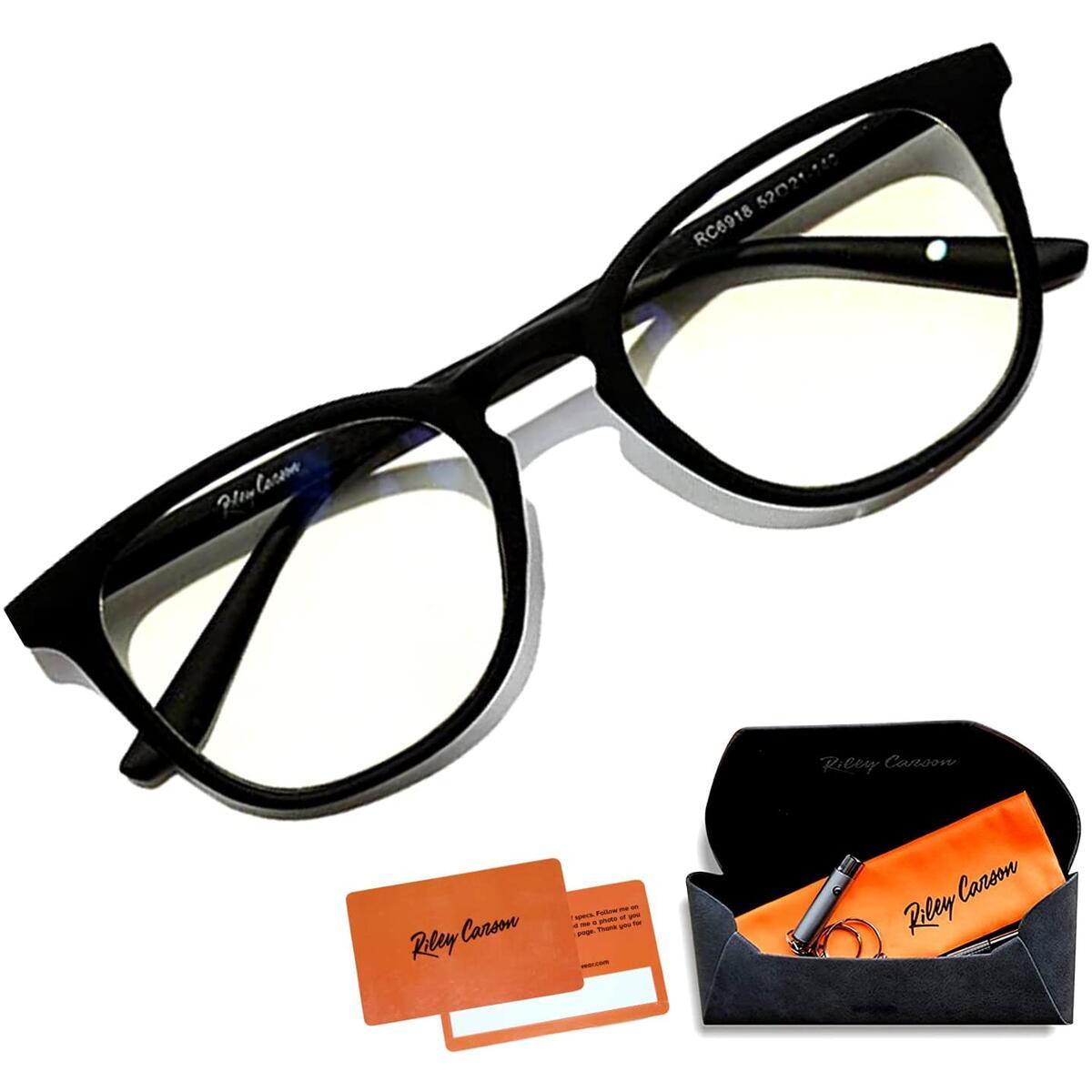 Riley Carson - Blue Light Blocking Glasses - Anti Eye Strain Blocker Blue Light Filter TR90 Eyewear Frame Glasses Computer Gaming Glasses