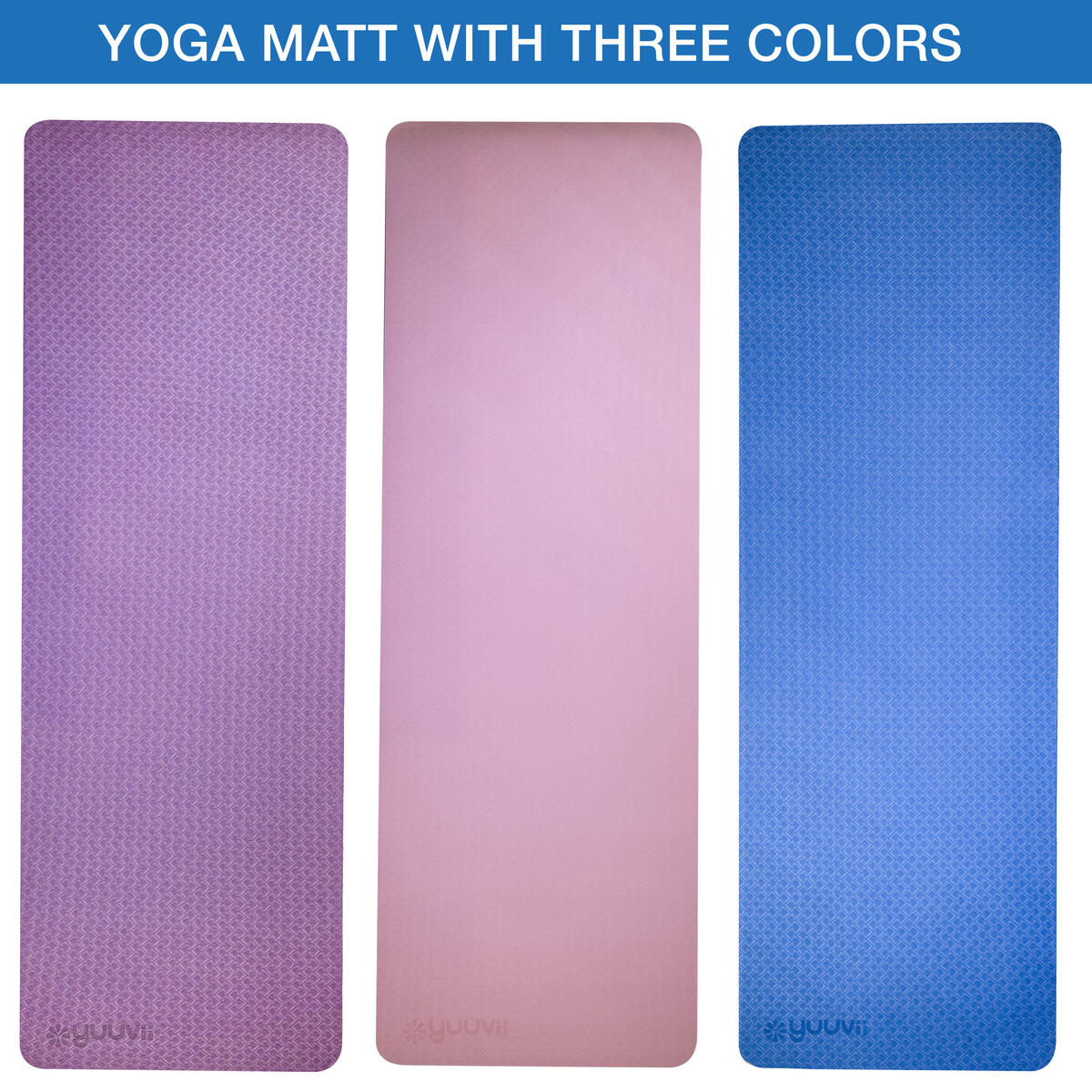 YuuVii Yoga Mat Set with Workout Resistance Bands, Mesh Travel Bag & Carrying Strap - Exercise Non-Slip Fitness Floor Mat for Women and Men - 1/4 Inch Soft, Extra Thick TPE