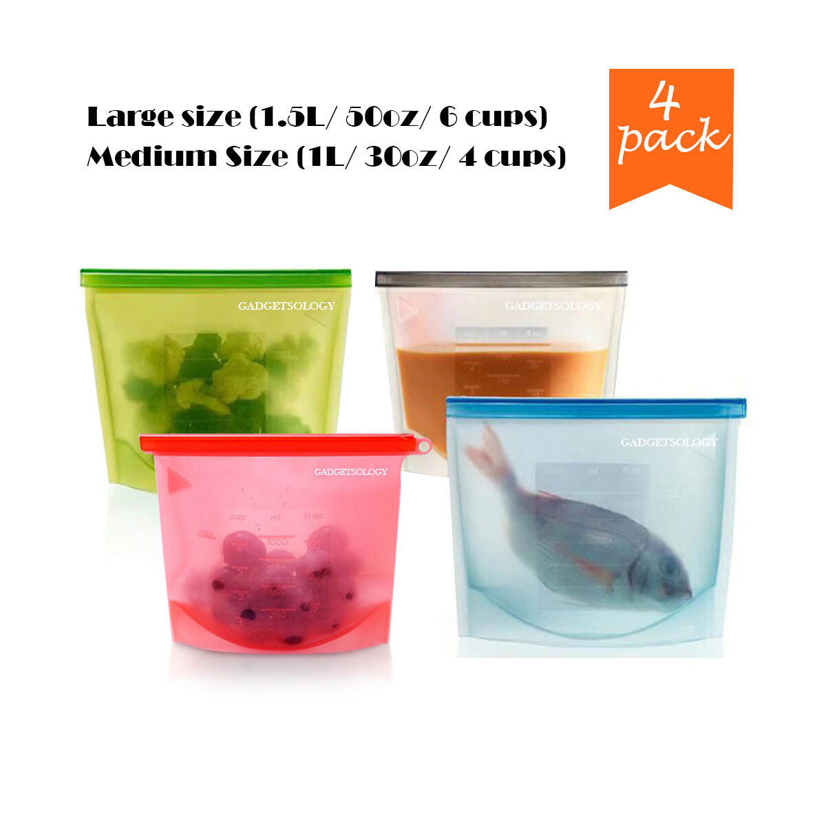 1M + 3L (4PCS) Reusable Silicone Food Bags | Eco-Friendly Meal, Airtight, Leakproof, Ziplock Seal for Hot or Cold Food Storage | Washable