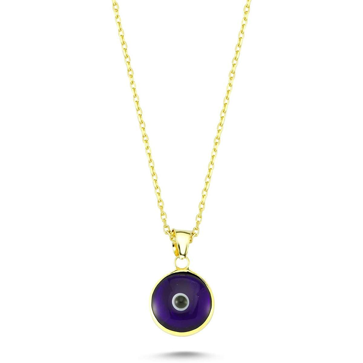 14K Gold Plated 925 Sterling Silver Evil Eye Protection Charm Pendant Necklace Chain for Women
