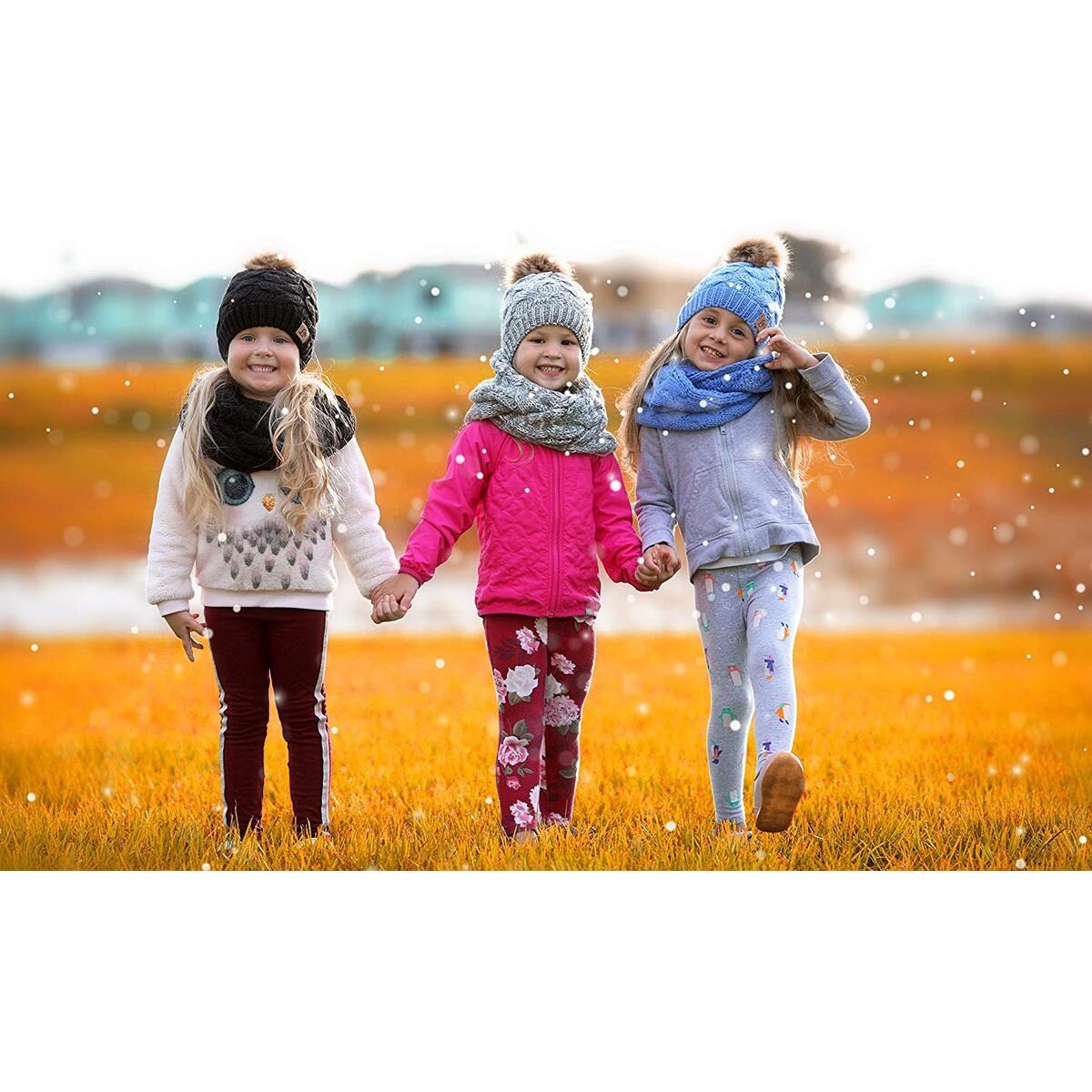 Kids Toddler Winter Hat Pom Beanie Infinity Scarf Set Warm Fleece Lined for Baby Girls Boys Grey/White Mix