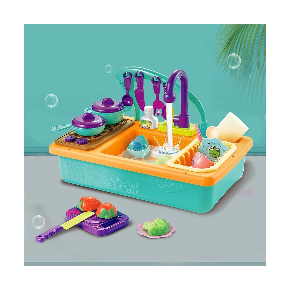 Happytime Toy Kitchen Set Play Kitchen Toy Utensils Play Dishes Accessories Plates Dishwasher Playing Toy with Running Water, Play House Pretend Role Play Toys for Boys Girls