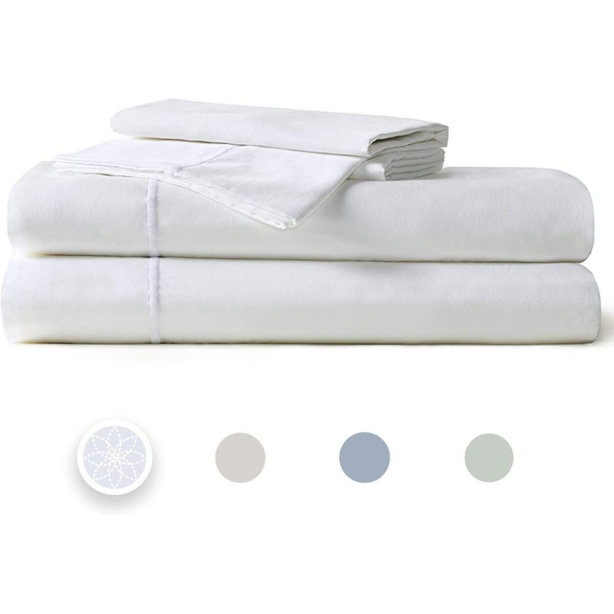 """400TC Sateen Thick Cotton Sheets   4 Piece Set – Fitted, Flat sheet & Shams   Stretches Up to 14"""" to Cover Most Mattress Sizes - Retains Elasticity   Super Soft- Shrink & Pilling Proof - King, White"""