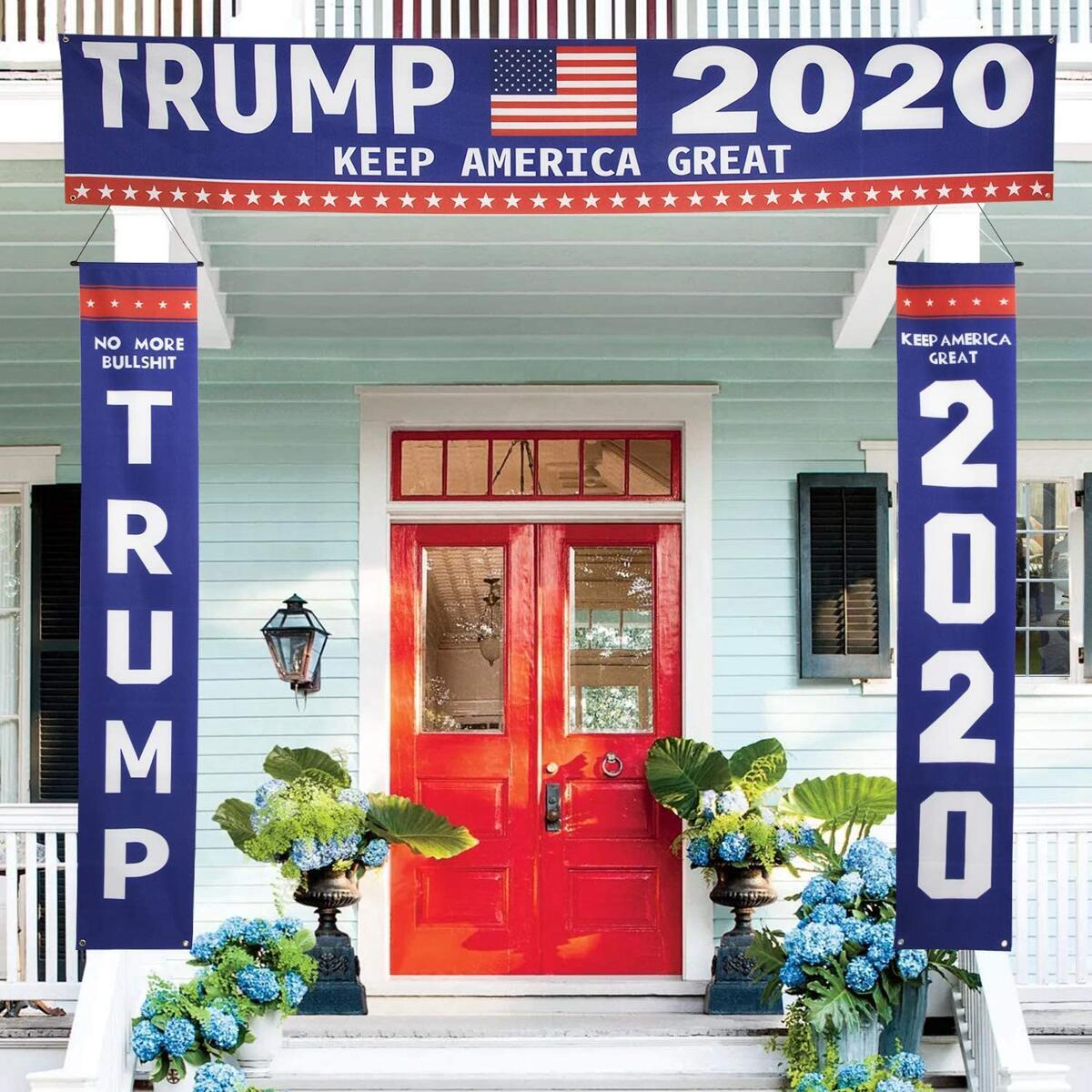 KENPMA Large Trump 2020 Yard Sign and Banner Outdoor Decorations - Keep America Great No More Bull Hanging Banner - Lawn Sign for President Trump 2020 Front Porch Sign - Outdoor, Indoor Décor