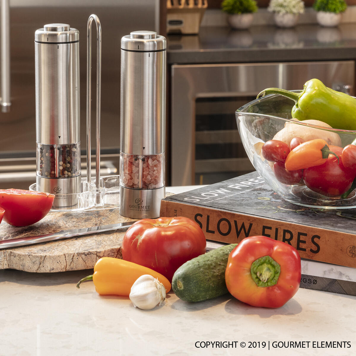 Electric Salt and Pepper Grinder Set by Gourmet Elements | 2 Refillable, Battery Operated, Stainless Steel Mills