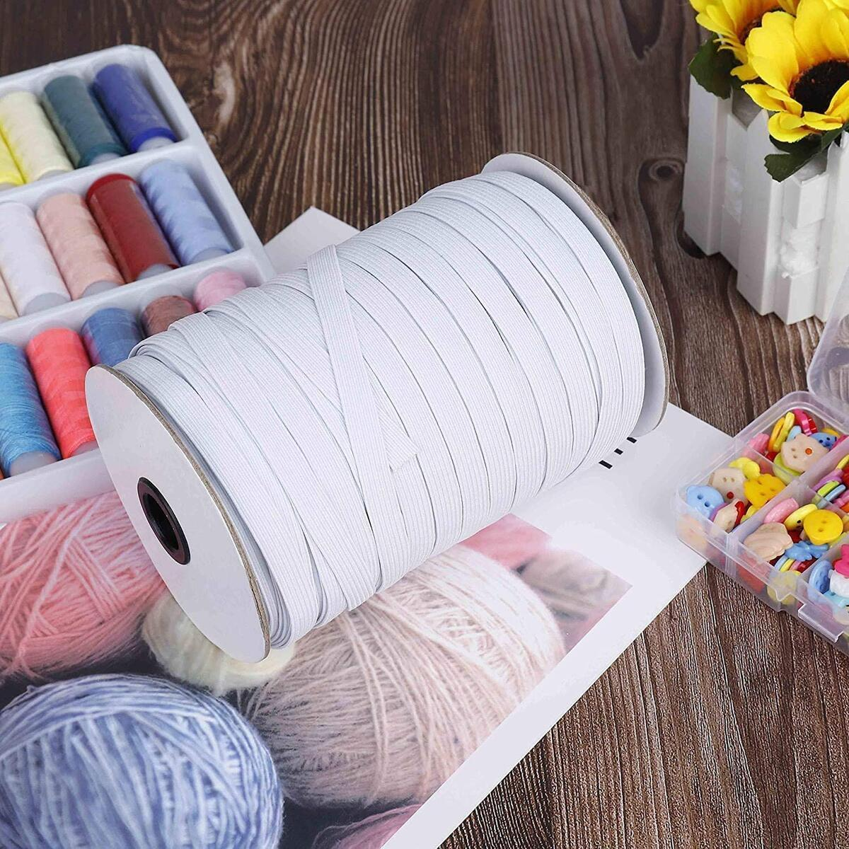 144 Yards Elastic Bands for Sewing 1/4 Inch -  Perfect for Crafts & DIY Projects