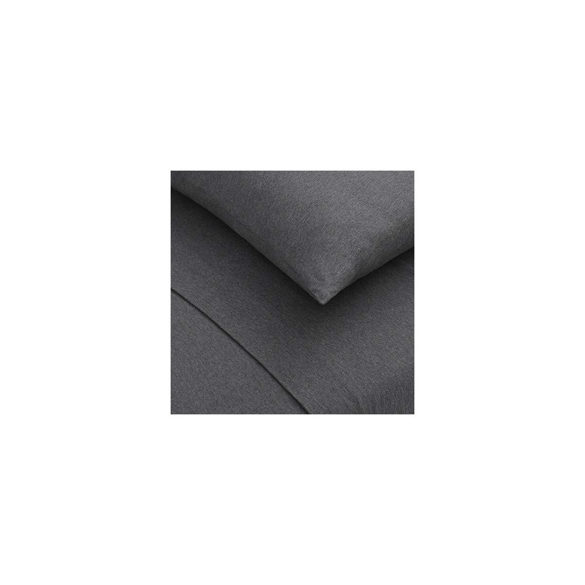 100% Cotton Jersey Knit Bed Sheet Set (Queen, Dark Gray Heather) - Should not apply any coupon