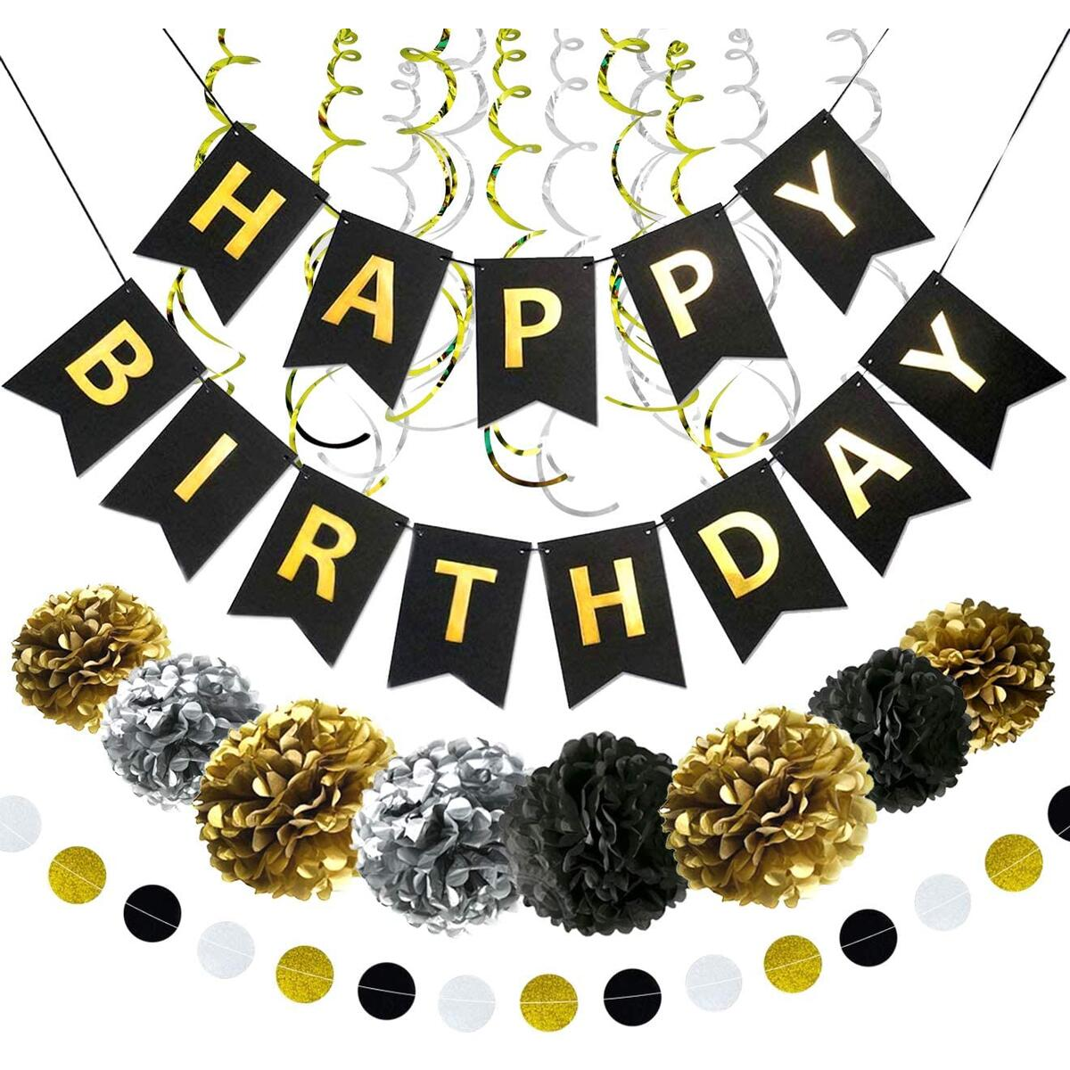 Happy Birthday Banner Party Decorations - Black Gold Decor Supplies Kit for Kids Adults - Bday Banner Garland Swirls Pom Poms Set