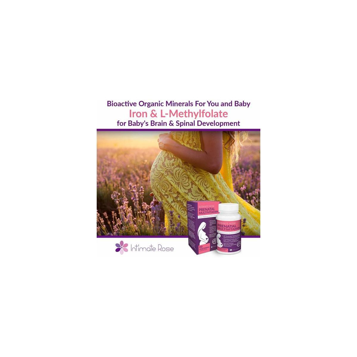 Intimate Rose - Organic Prenatal Vitamins - 30 Day Supply - Methylfolate Folic Acid - Natural Herbal Supplements - Prenatal Vitamins with Iron - Prenatal Multivitamin