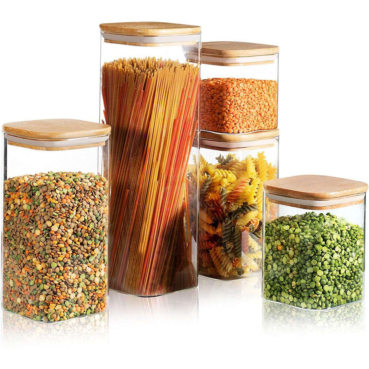 Set of 5 Square Canisters, Glass Kitchen Canister with Airtight Bamboo Lid, Glass Storage Jars for Kitchen, Bathroom and Pantry Organization Ideal for Flour, Sugar, Coffee, Candy, Snack and More (5