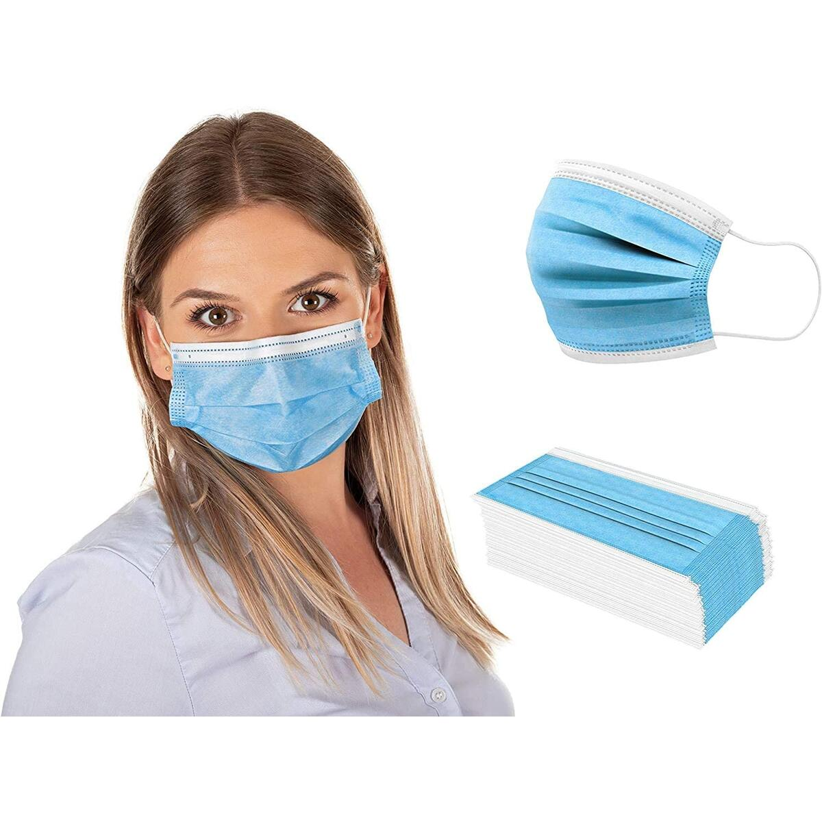 [Pack of 50] Fuye Blue Disposable Face Masks, Protective 3-Ply Breathable Comfortable Nose/Mouth Protection Covering for Home, Office & Outdoors, Elastic Ear Loop 3-Layer Safety Shield for Adults/Kids