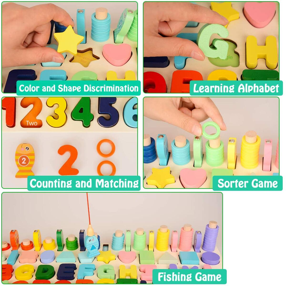 BeebeeRun Wooden Number Alphabet Puzzles Sorting Counting Learning Toys for Toddlers, Shape Sorter Fishing Game for Age 3 4 5 6 Year Olds Kids, Preschool Education Math Stacking Blocks Learning Toy