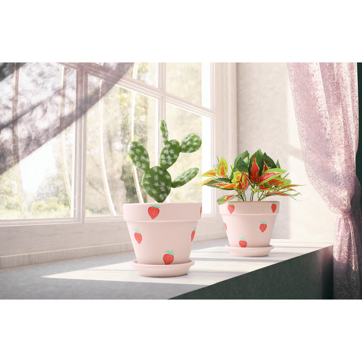 Hand-Painted Strawberry Pattern Terracotta Pots- 5.5 Inch Plant Pot with Drainage and Saucer-fit for Succulent, Flower, Cactus, Snake Plant, Etc