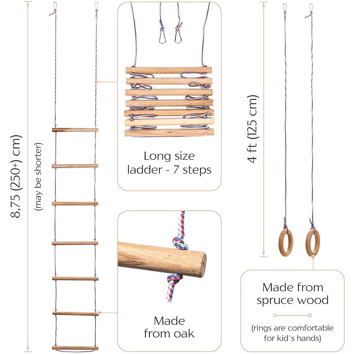 Children play set 3 in 1: rope disk wooden swing, gymnastic rings and climbing ladder - indoor / outdoor | best gift for kids|(Europe-Made)