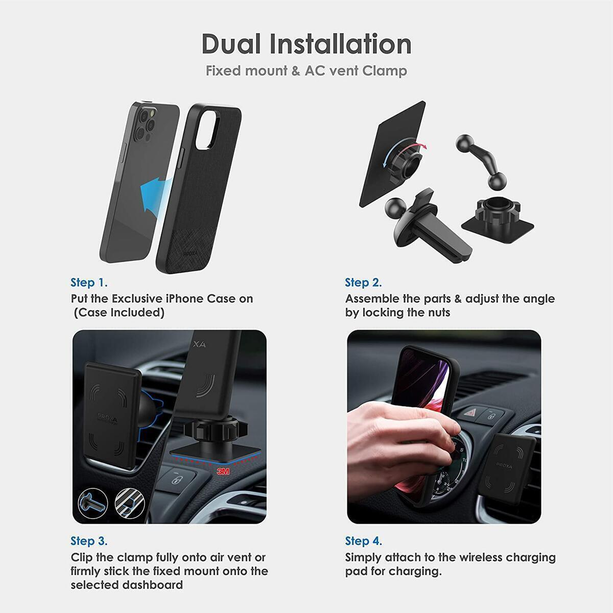 PROXA Magnetic Wireless Car Charger with 6.1 inch Case Designed for iPhone 12/12 Pro[MagSafe Compatible]&Dual Installation Mount&Dual Port QC 3.0 Car Adapter-Compatible with iPhone 12/12 Pro