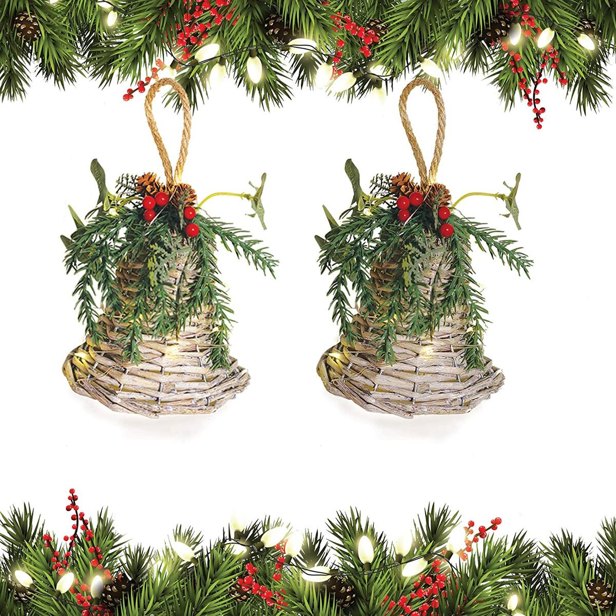 Wicker Hanging Bell Ornaments for Christmas Decoration