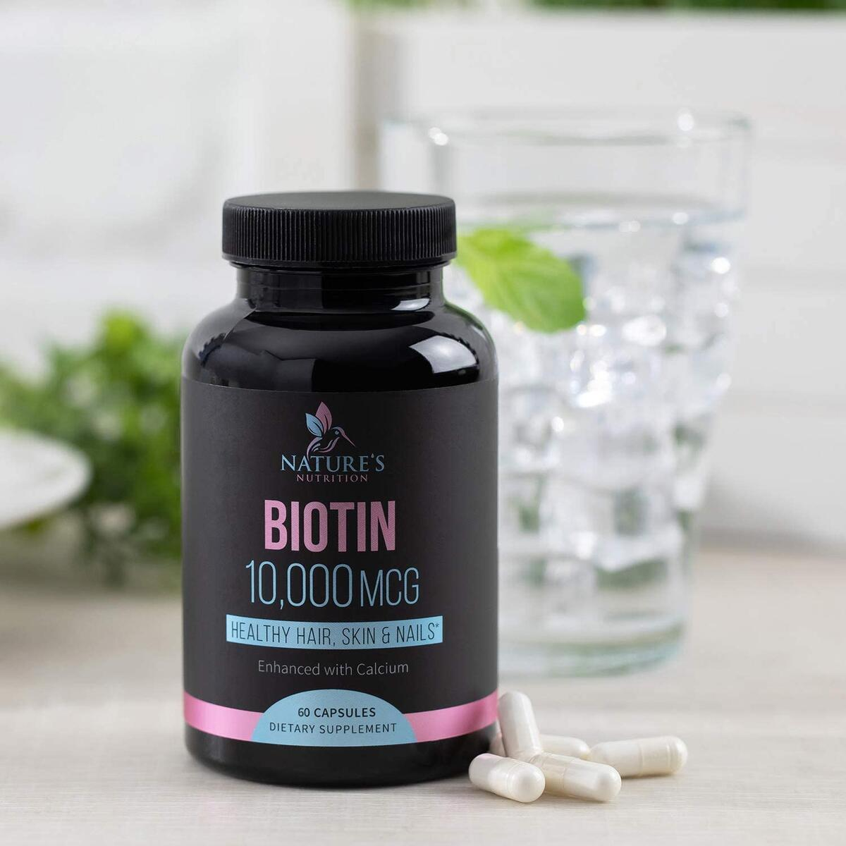 Biotin Supplement 10000mcg Highest Potency Vitamin B7 Pills - Made in USA - Supports Healthy Hair Growth, Hair Skin and Nails Vitamins for Women & Men - Gluten Free, Non-GMO - 60 Capsules