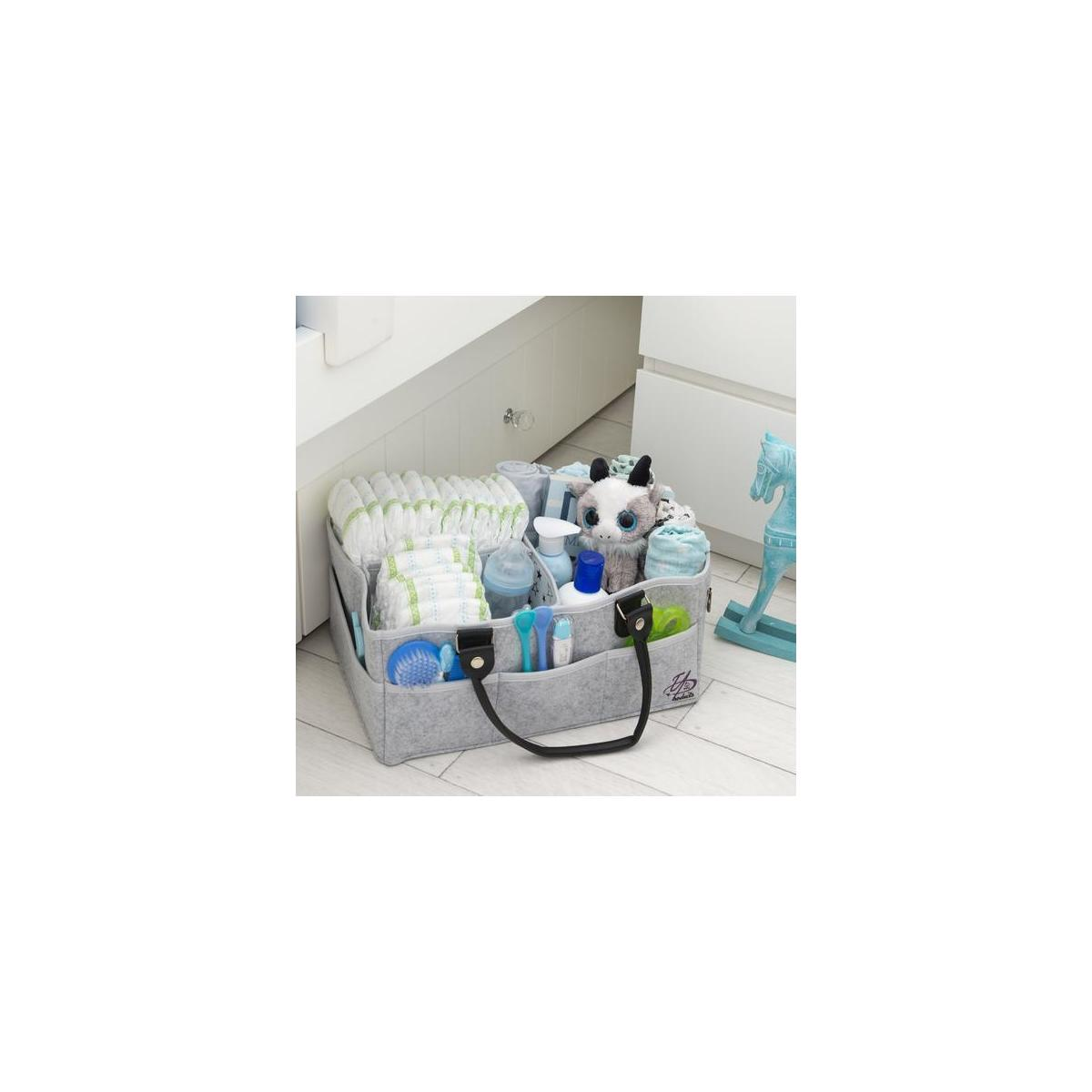 Baby Diaper Caddy Organizer Bag for Changing Table/Storage/Portable Nursery Basket | X-Large (16x11x7 inches)