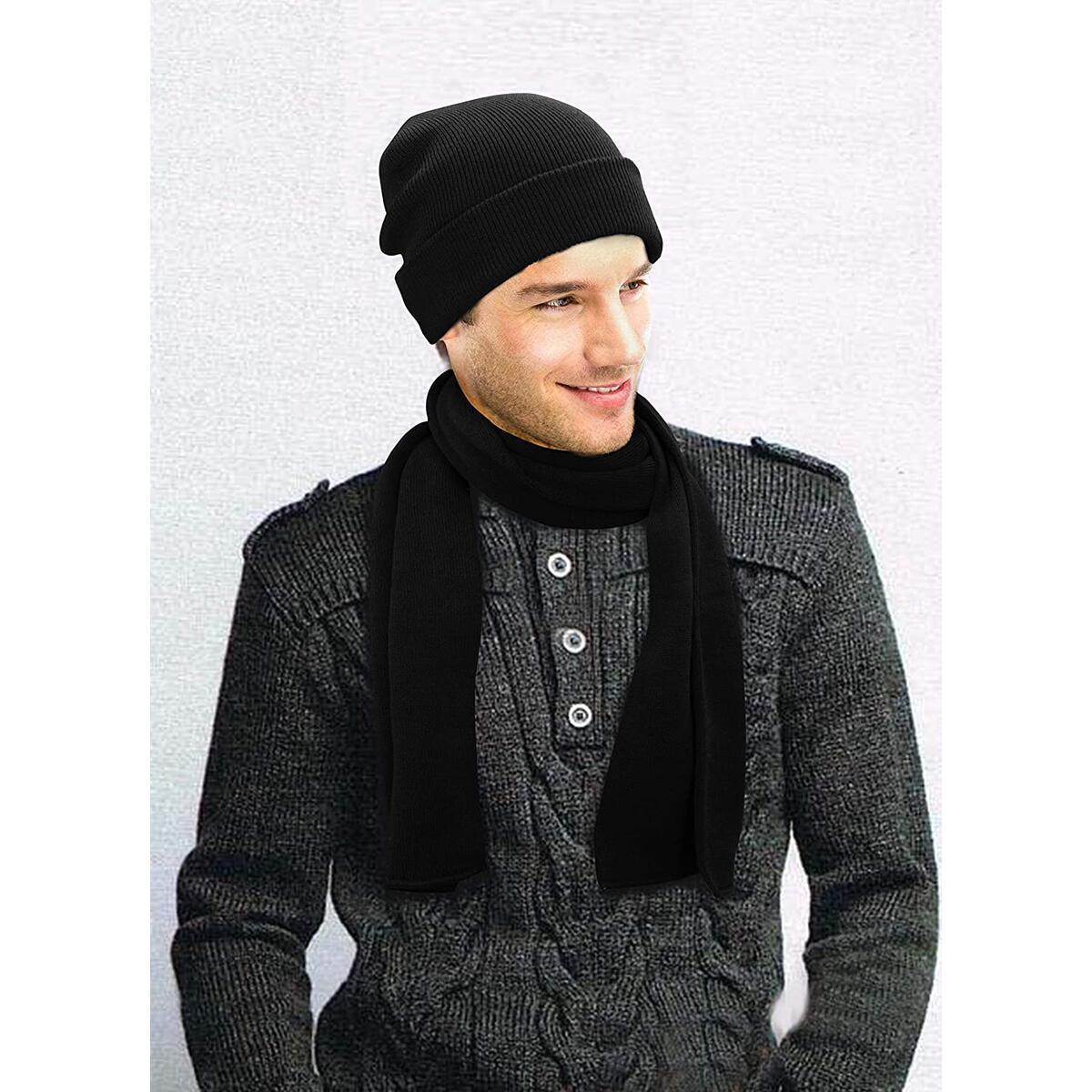 Unisex Wool Beanie   Men Women Winter Knit Slouchy Beanie Chunky Baggy Hat with Faux Fur Pompom Skull Hat