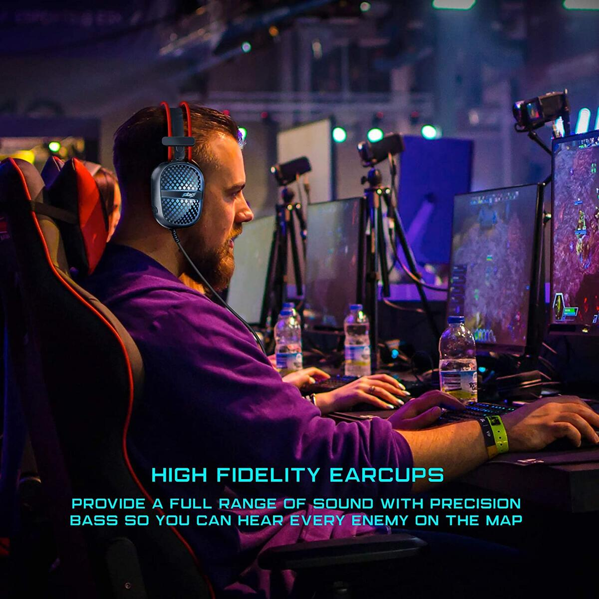 Pulse 7 Elite Gaming Headset, Red, Green, Blue LED Lights, Built-in Microphone for PC and Gaming Consoles