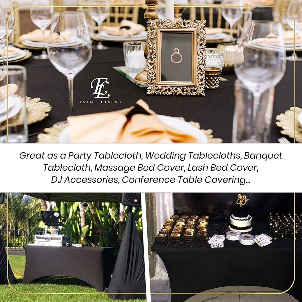6ft Tablecloth Rectangular Spandex Linen - Black Table Cloth Fitted Cover for 6 Foot Folding Table