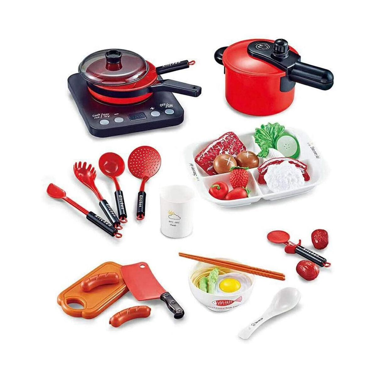 WISHTIME Kids Kitchen Accessories Playset, Pretend Play Cooking Set, Toy Pots N Pans, Cookware, Utensils, Vegetables, Gift for 3 4 5 Years Old Baby Infant Toddlers Boys Girls Children