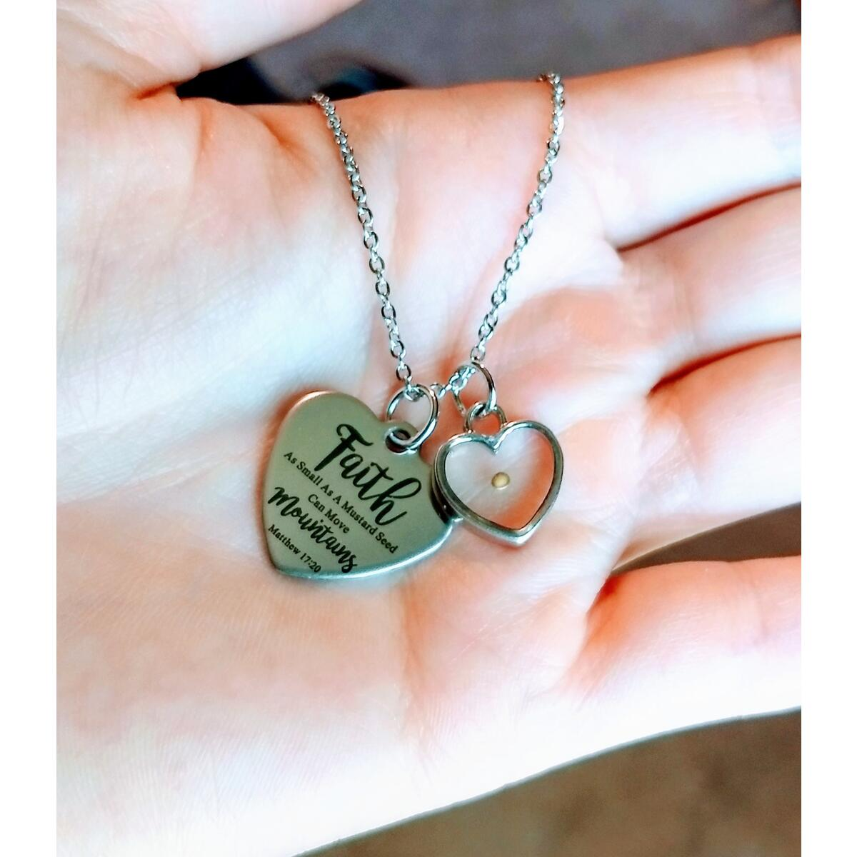 Real Mustard Seed Necklace Heart Faith Necklace for Women Christian Gifts