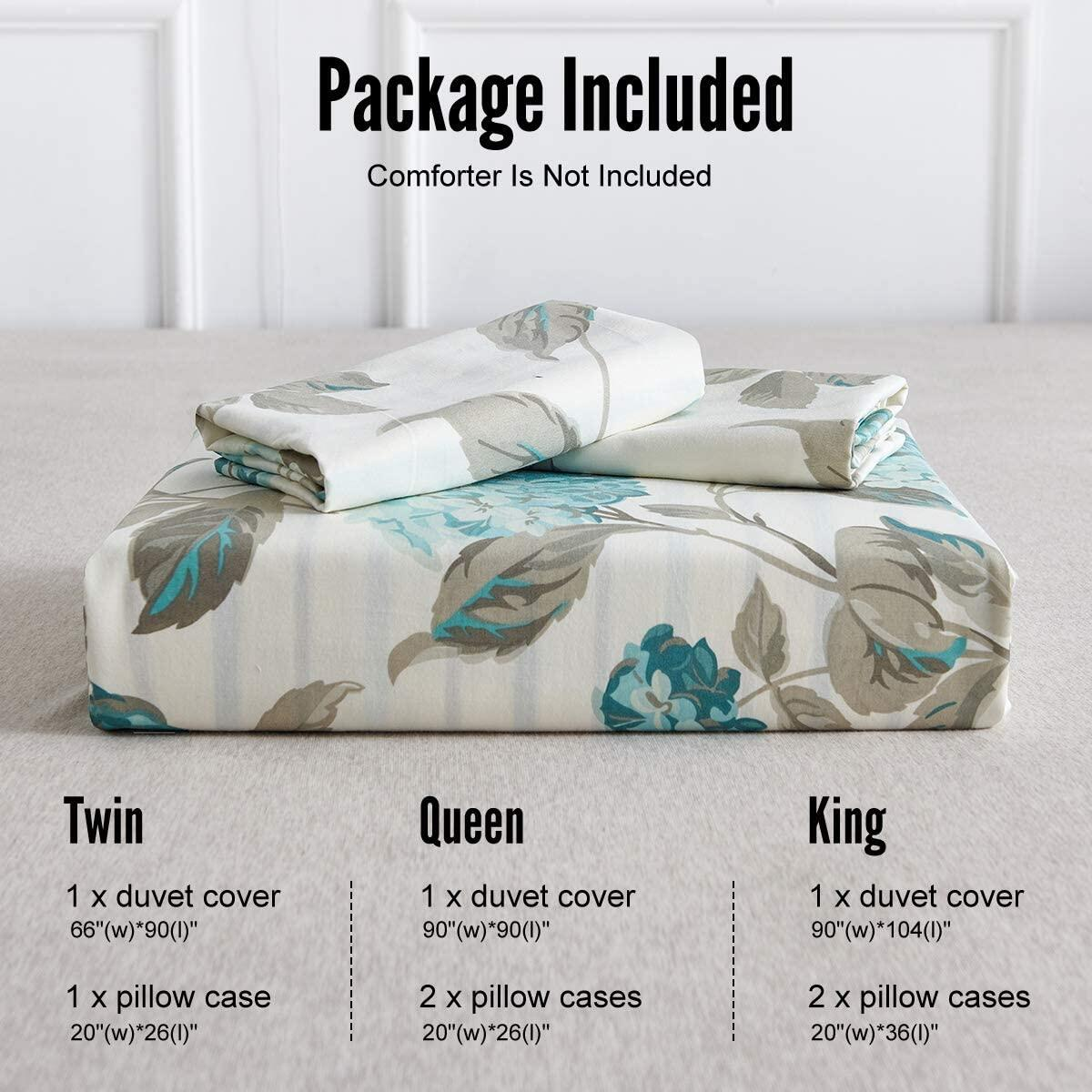 WARMDERN Duvet Cover Set King Floral 100% Cotton 3 Pieces Green Flower Plant Soft Breathable Lightweight Bedding Set with Zipper Closure Corner Ties, 1 Comforter Cover and 2 Pillowcase (King,Green)