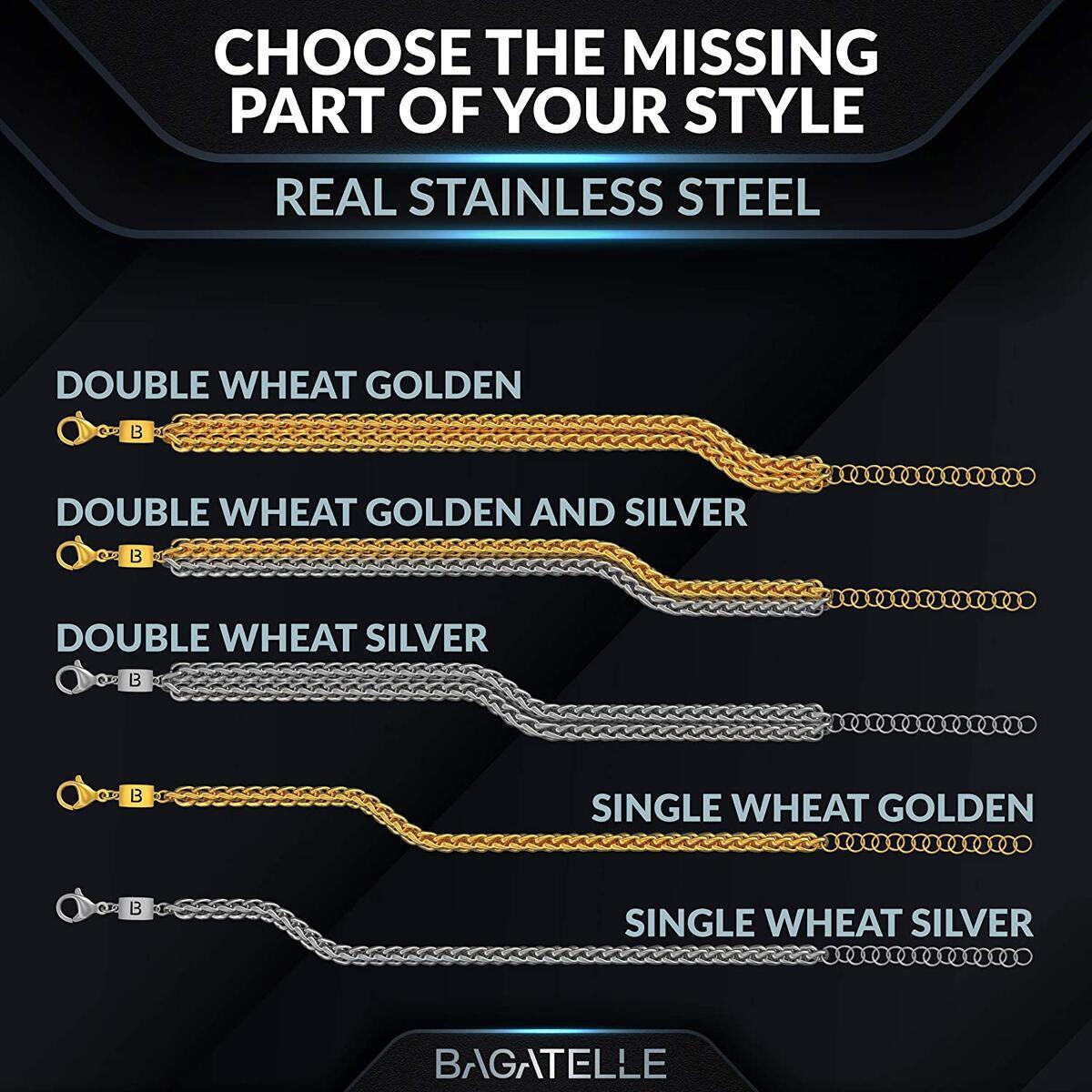 Bagatelle Handmade Luxury Stainless Steel Gold Bracelets for Men, Mens Bracelet Gold Plated Chain fits Arm Size 6.7