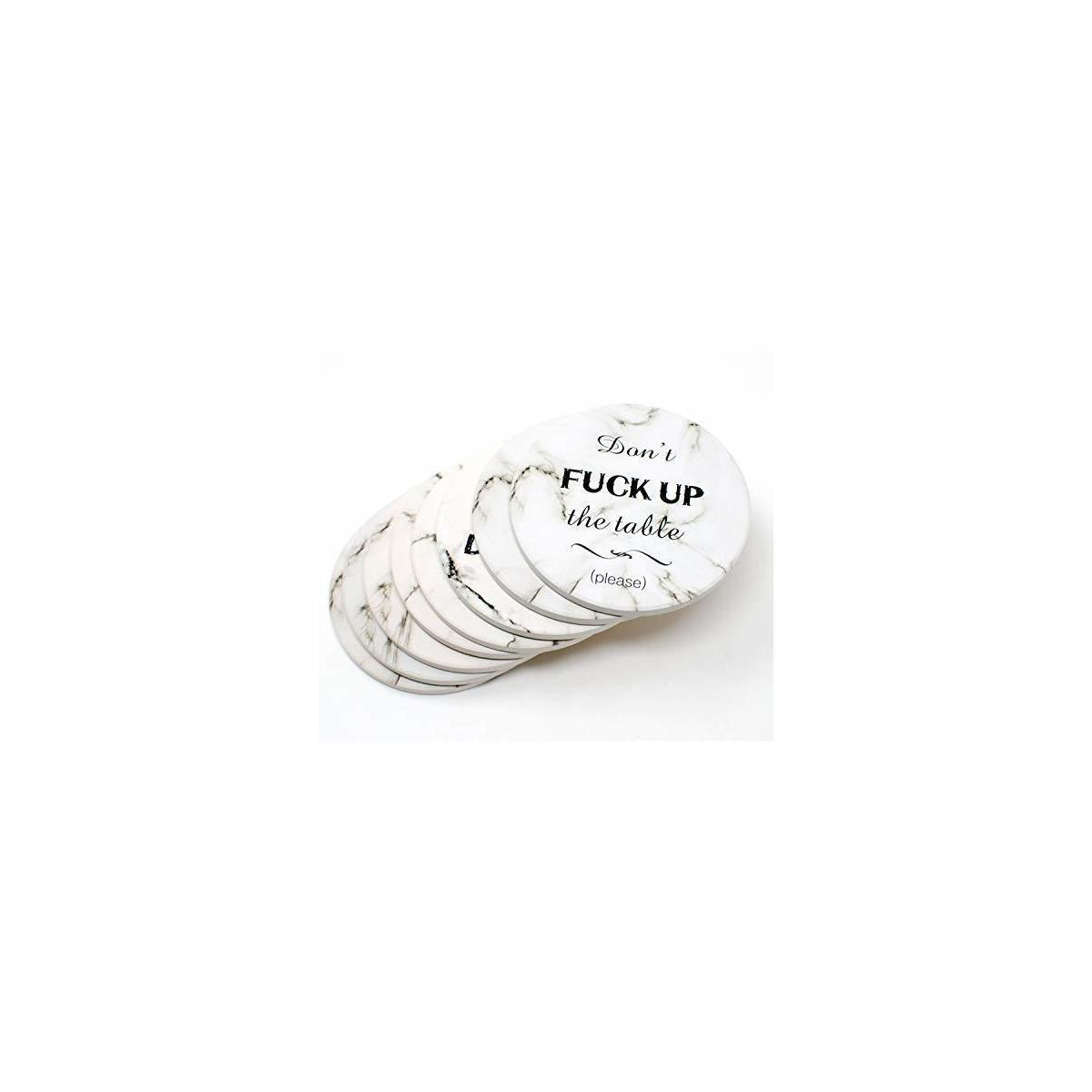 8 Pieces Coasters for Drinks Absorbent Stone with Funny Saying