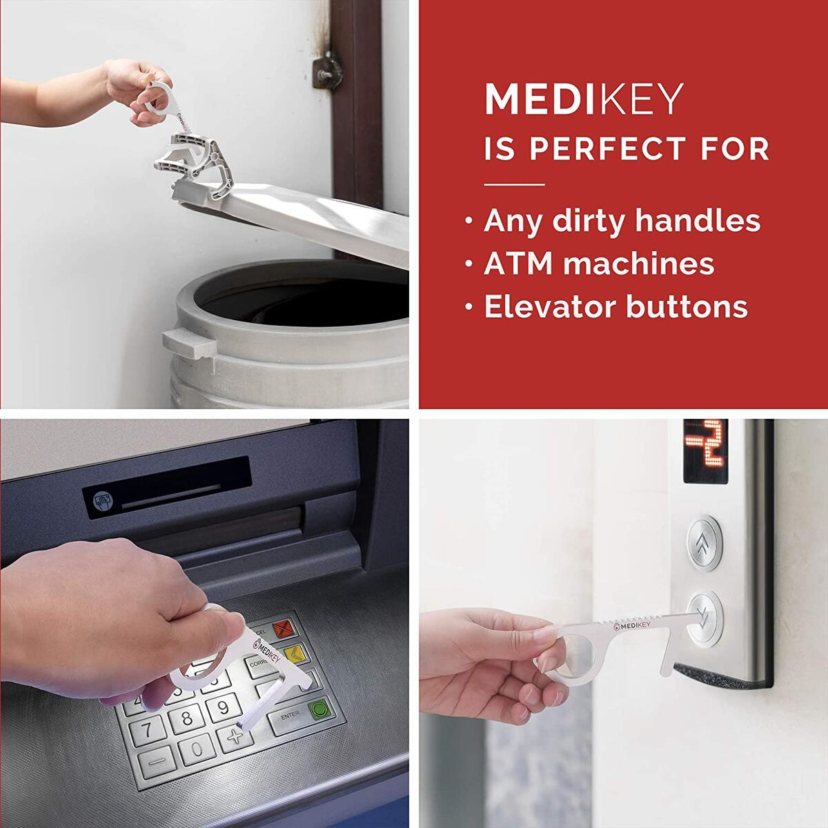 MEDIKEY Contactless Door Opener – The Original Clean Key for Door Handles, ATMs, Elevators with Stylus tool – Made from Antimicrobial Silver-Plated Brass Alloy (2 Pack)