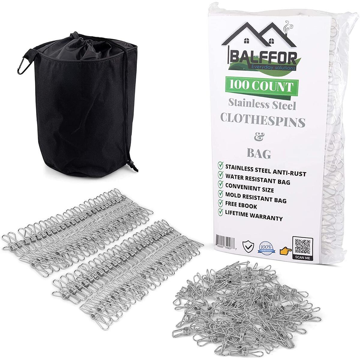 Balffor 100 Small Stainless Steel Clothespins & Clothespin Bag - Metal, Light, Mini Clips in Bulk - Multi-Purpose Wire Utility Clothes Peg & Laundry Pegs with Strong Clamp for Outdoor Clothesline