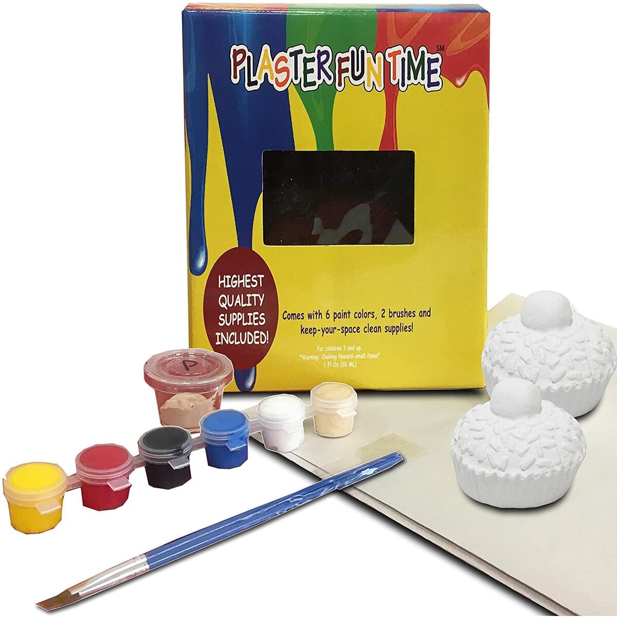 70% OFF SUPER SALE, ENDS SOON! - Paint Your Own Cupcakes Painting Kit for Kids (3+) - Ceramic Arts & Crafts for Kids - DIY All Inclusive & Ready – Includes 2 Cupcakes, 6 Paint Colors, 2 Brushes, Paper for Quick Clean Up