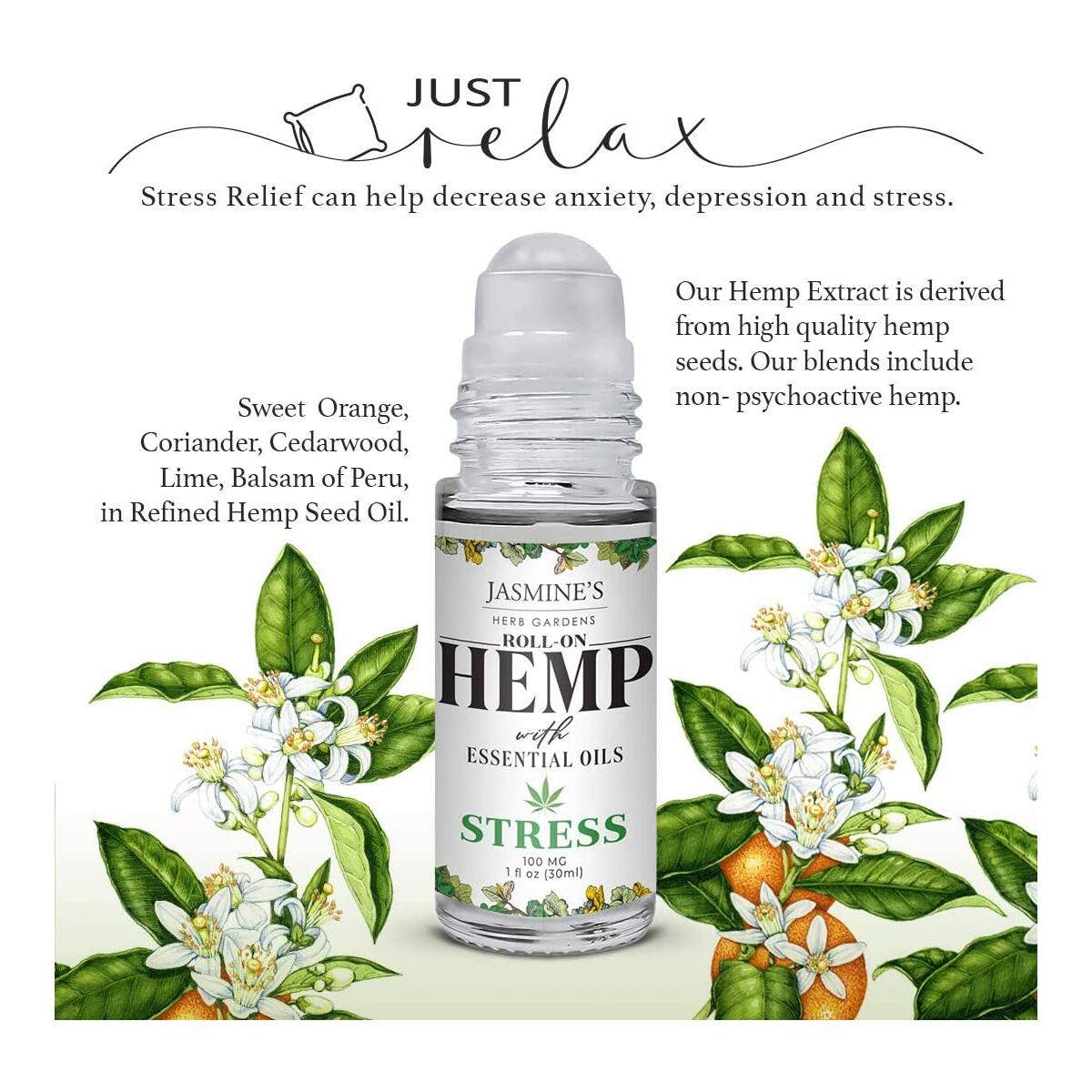 Stress Relief Essential Oil Blend with Hemp Extract - Roll On Essential Oil Blend - Relaxing & Unwinding, Fights Anxiety - 1 fl oz