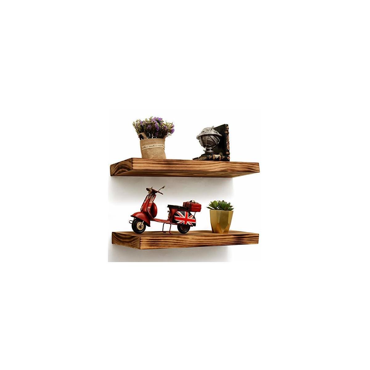 """Set of 2 Heavy Duty Rustic Floating Shelves, 24x6.7x1.7"""" Grade-A Pine Wood +Smart Hidden Mounts +Premium Anchors [BRIX]"""