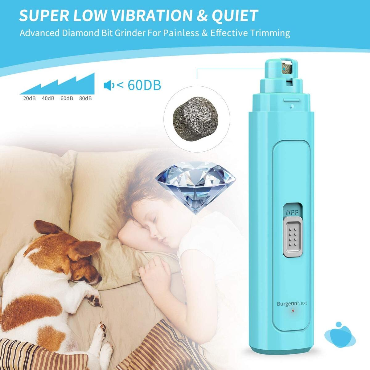 BurgeonNest Dog Nail Grinder for Large Dogs,Ultra Strong Motor Pet Paw Clipper Trimmer 2-Speed 2000 mAh Rechargeable Eletric Nail File for Large Medium Small Dogs and Cats