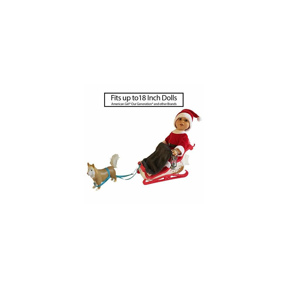 Doll Sleigh Set Holiday Toy Gift Set fits 18 Inch and American Girl Dolls