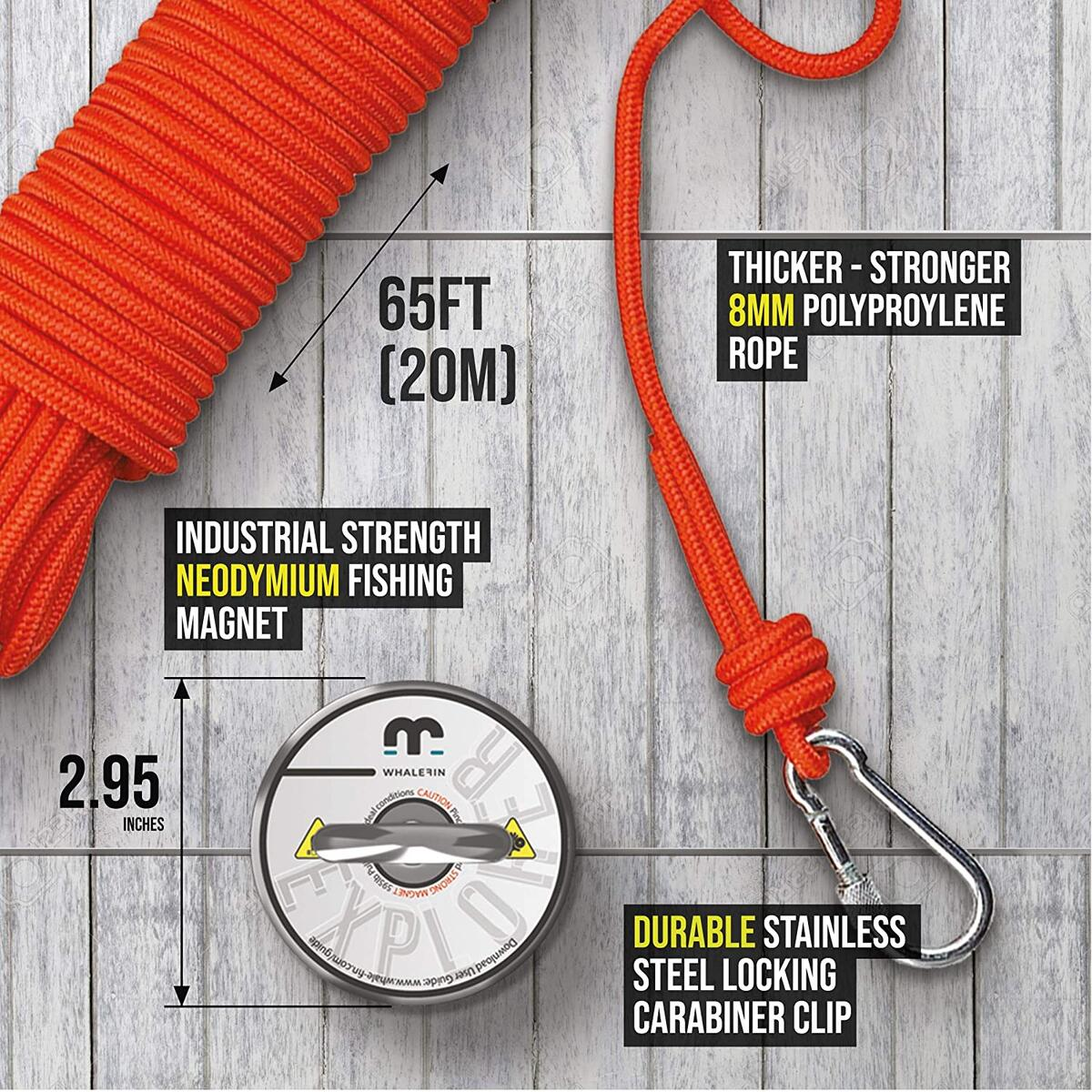 Whalefin Fishing Magnet Kit for Explorers - 595 lb Powerful Fishing Magnet with Rope - The Complete Magnetic Fishing Kit for Lakes, Rivers, Deep Sea - User Guide
