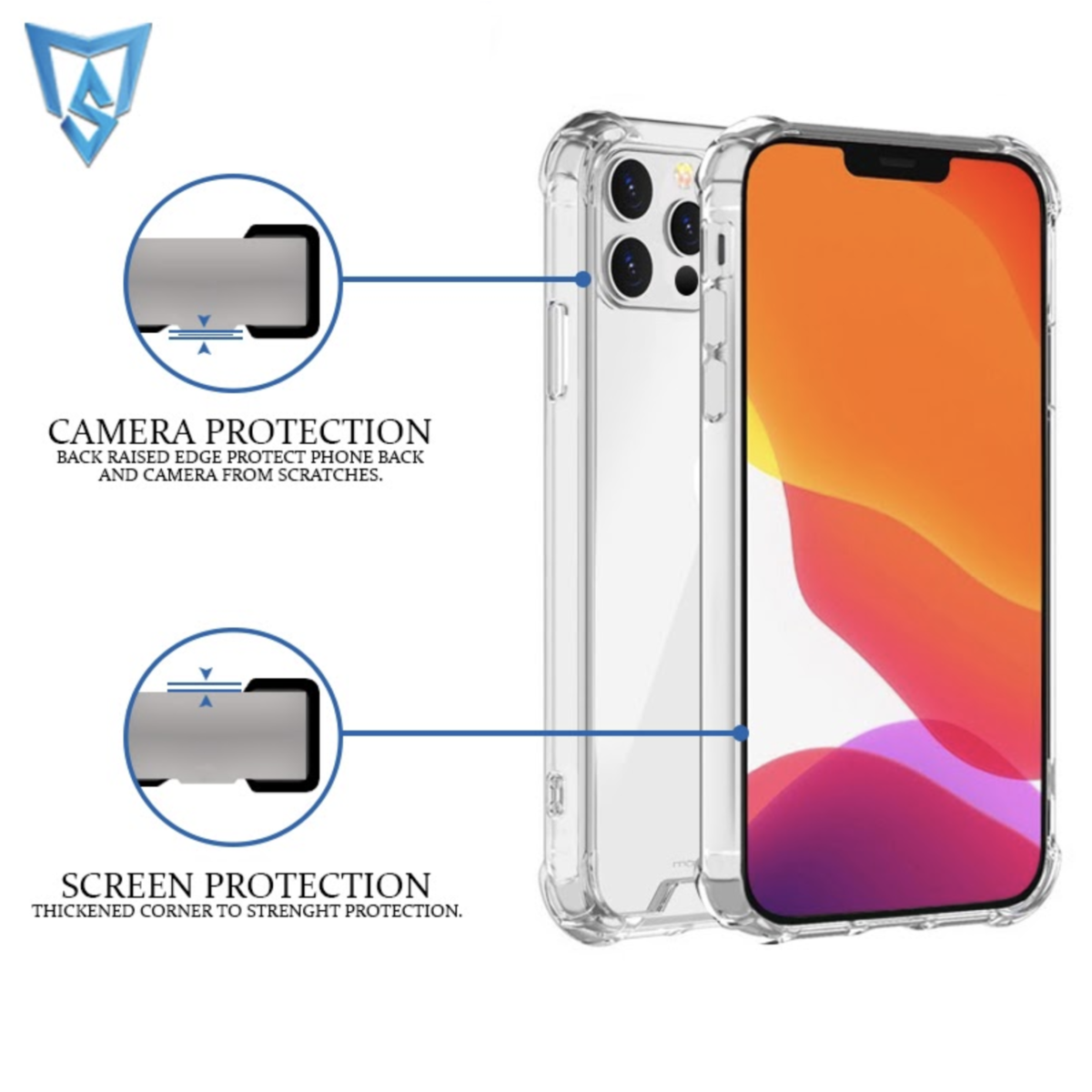 Monsterskin Protective Case Compatible with iPhone 12 Pro Max Case Clear (6.7 Inch) Anti Fingerprint Anti Scratch Shock Absorbing