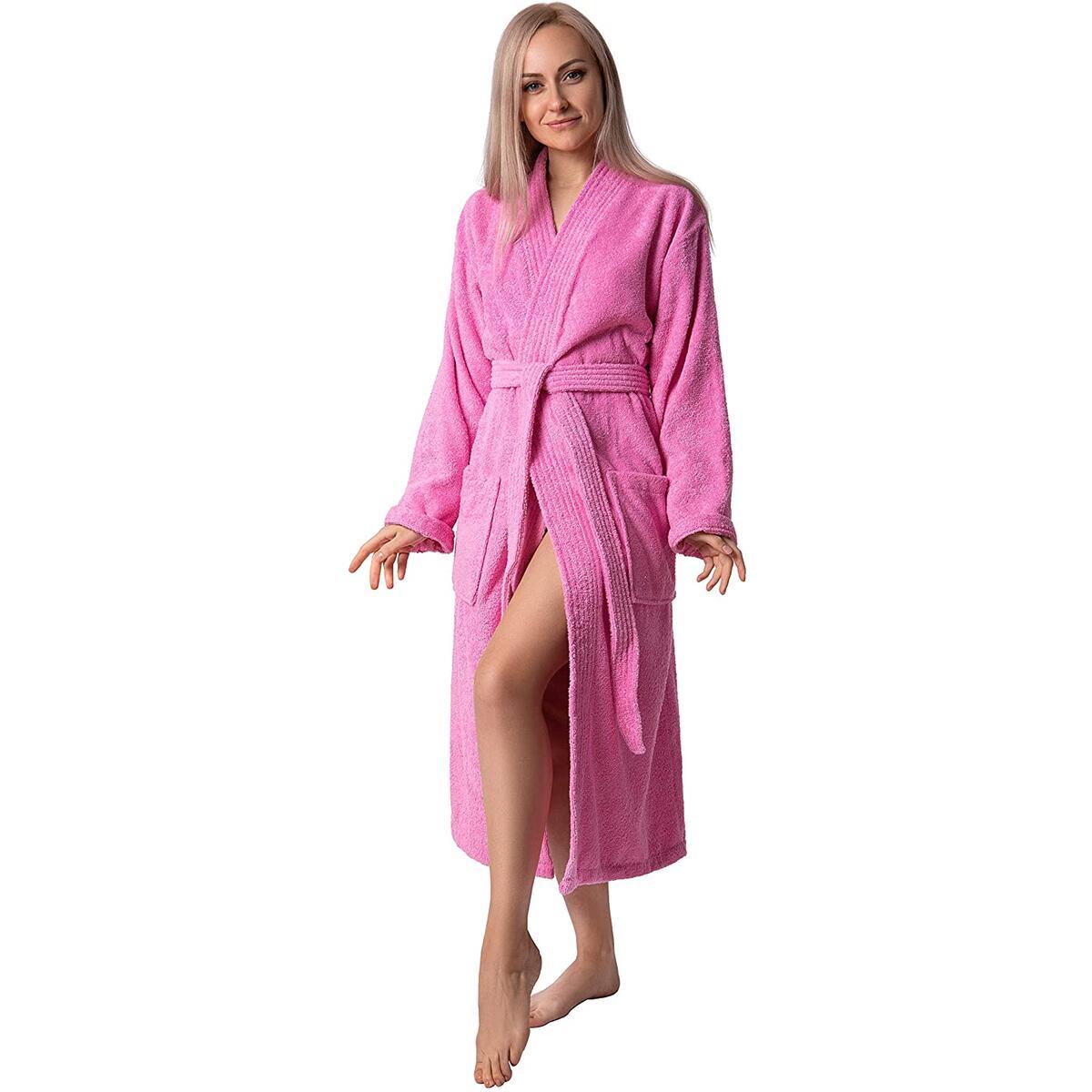 Women's Organic Kimono Robe (Medium/Large Pink)