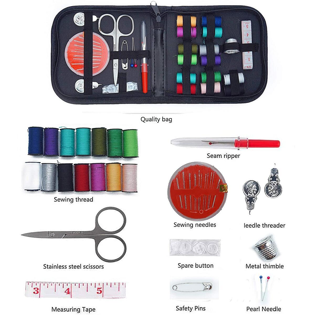 Mini Sewing Machine,Battery & AC Power,Portable Sewing Machines 2-speed with extension sewing table & Sewing Kit for Household.Easy home small、Light sewing machine for Travel, Kids, Beginners
