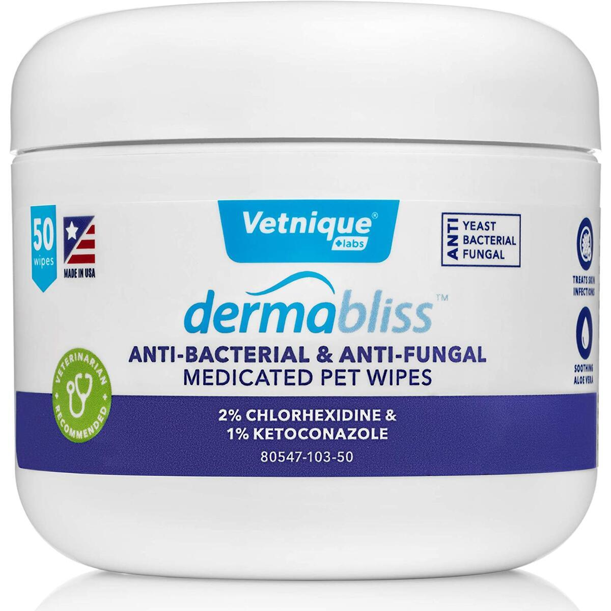 Dermabliss Anti-Bacterial & Anti-Fungal Medicated Wipes for Dogs and Cats with Chlorhexidine and Ketoconazole, Soothing Aloe for Skin Infection and Allergy Relief, 50ct Pet Wipes…