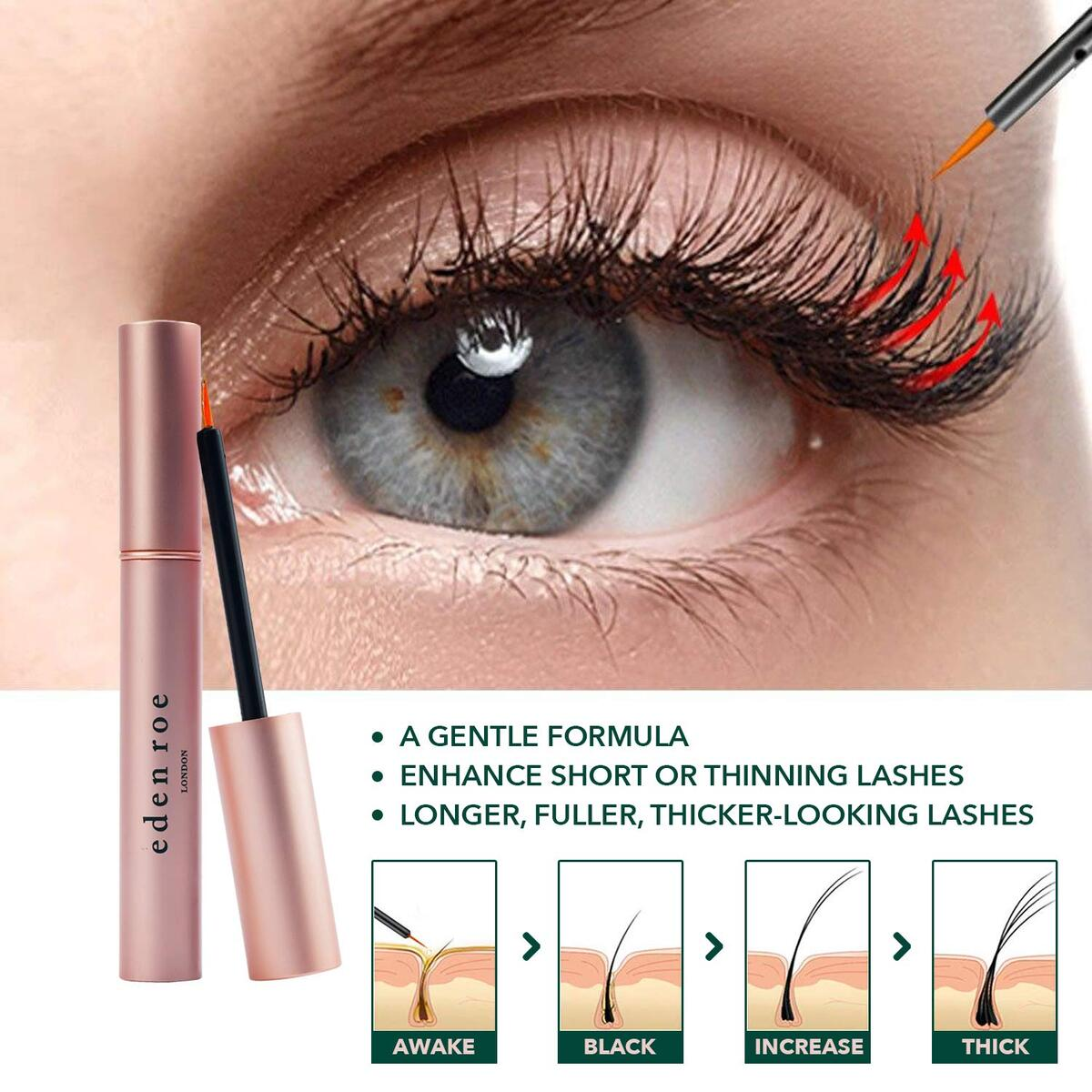 Eden Roe Eyelash & Eyebrow Growth Enhancing Serum to Grow Longer, Thicker Lashes and Brows 3.5ml